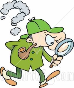 24643-clipart-illustration-of-sherlock-holmes-a-caucasian-man-in-a-green-hat-coat-and-pants-smoking-a-pipe-and-peering-through-a-magnifying-glass-while-searching-for-evidence